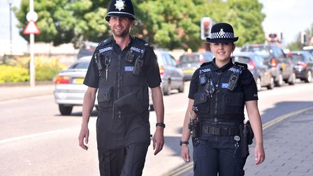 Police officers Charlotte Trett and Matt Fiske on patrol in Yarmouth.Picture: Nick Butcher