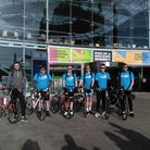 A group of school friends set off from The Forum in Norwich to cycle to Torquay to raise money for