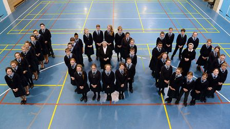 Pupils at Sacred Heart School in Swaffham as it celebrated its 100th anniversary in 2014. Picture: A