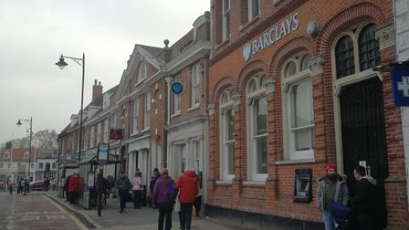Barclays bank in Dereham covered in bird poo. Picture: ARCHANT STAFF