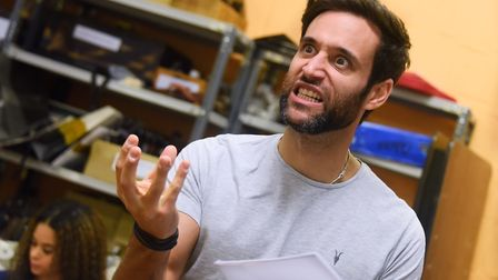 Rik Makarem as Abanazar, during a rehearsal of the Theatre Royal's panto Aladdin. Picture: DENISE BR