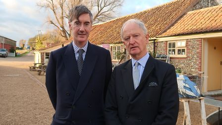 Jacob Rees-Mogg has visited Creake Abbey in north west Norfolk to talk about Brexit. Pictured here w