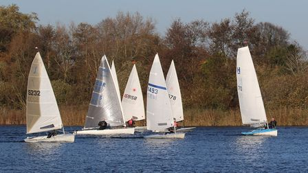 Singlehanders on the first beat at Rollesby Broad Picture: Kevin Davidson