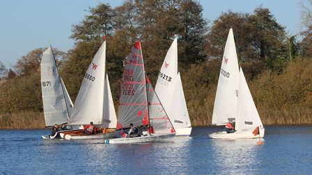 Action from Rollesby - multisails at the first mark Picture: Kevin Davidson