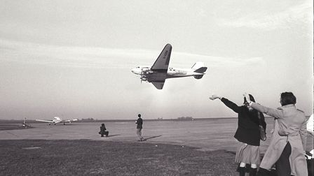 The last of Air Anglia's DC3s makes a farewell low-level run at Norwich Airport Photo: Archant