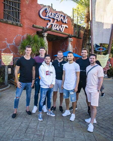 Some of Norwich City's players enjoyed a visit to the Busch Gardens theme park during their warm wea