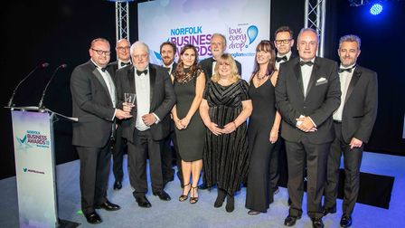 Norfolk Business Awards 2018. Ciaran Nelson of Anglian Water who presented the Outstanding Achieveme