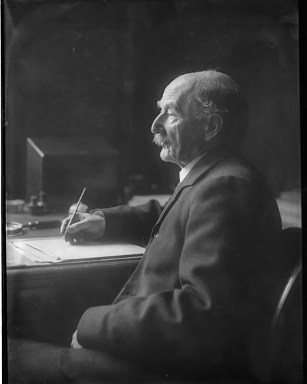 Thomas Hardy, by Olive Edis. Glass plate negative, taken in 1914. Copyright: Norfolk Museums Service