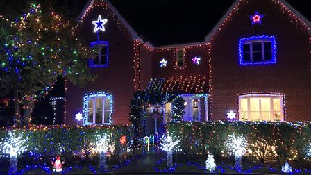 We love the weeks of pointing out Christmas lights, such as these in Wood Avens Way, Wymondham. Pict