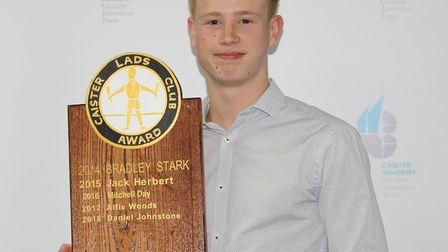 Daniel Johnstone with the Caister Lads Club Award at Caister Academy. CAISTER ACADEMY