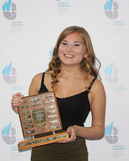 Summer Beckett with the Clere House Community Services Award at Caister Academy. CAISTER ACADEMY