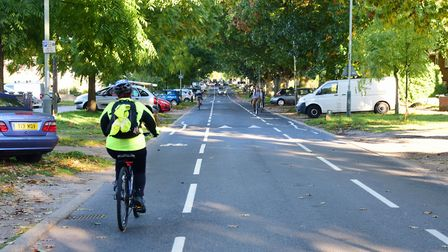 A cyclist on The Avenues in Norwich. Picture: DENISE BRADLEY