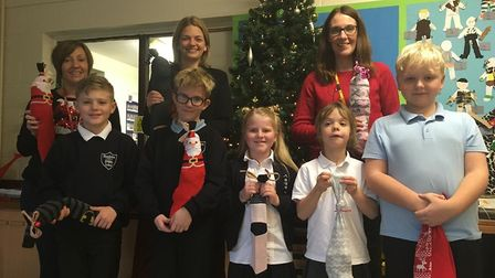 Blundeston Primary School taking part in the People's Picnic's Fill A Sock campaign.