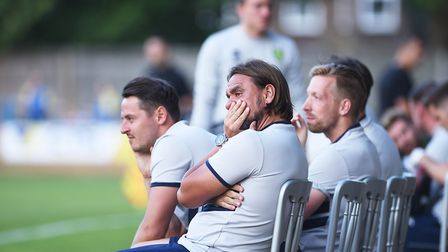 Daniel Farke watches the pre-season friendly at King's Lynn Town ... wonder if he expected City to b