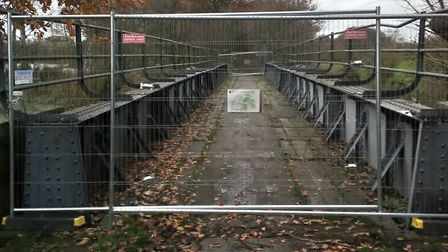 A bridge at Lenwade along Marriotts Way has been closed temporarily to members of the public. PIC: N