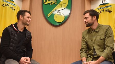 Russell Martin, right, and Wes Hoolahan were back in the home dressing room at Carrow Road as the Ca