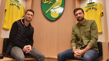 Norwich City legends Russell Martin, right, and Wes Hoolahan will face off in a charity game at Carr
