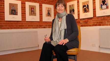 Elizabeth Handy at the Acorns photographic exhibition in the Corn Hall, Diss. Photograph Simon Parke