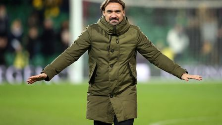 Norwich Head Coach Daniel Farke celebrates victory with the home fans the end of the Sky Bet Champio