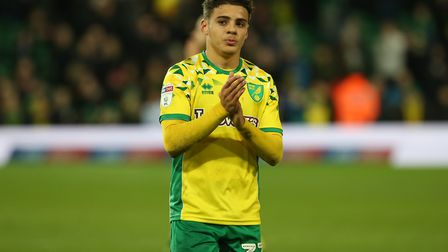 Max Aarons of Norwich applauds the fans at the end of the Sky Bet Championship match at Carrow Road,