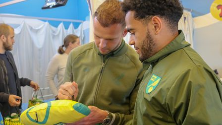 Norwich City players visited James Paget University Hospital in Gorleston to deliver Christmas prese
