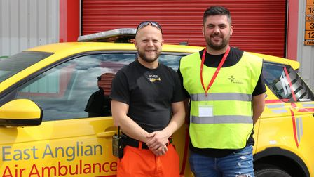 Dr Drew Welch, from the East Anglian Air Ambulance, with Tom Port. Photo: EAAA