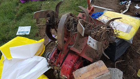 The rotovator after the incident which seriously injured Tom Port's leg. Photo: East Anglian Air Amb