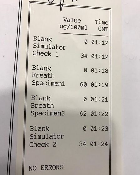 A roadside breath test found the motorist was over the legal limit and was driving without insuranc
