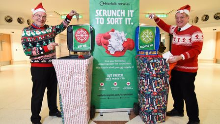 Norfolk Waste Partnership launching their Christmas campaign Scrunch It to Sort It, with councillors