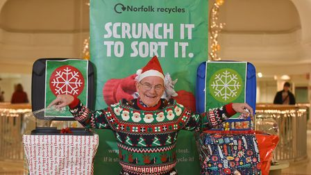 Norfolk Waste Partnership launching their Christmas campaign Scrunch It to Sort It, with councillor