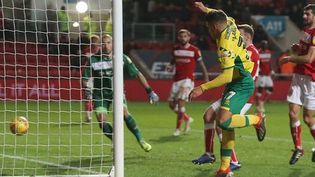 Max Aarons earned Norwich City an EFL Championship point against Bristol City at Ashton Gate. Pictur