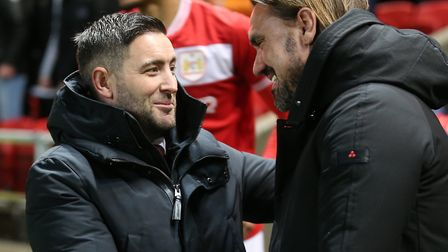 Lee Johnson and Daniel Farke did not agree over whether Alex Tettey was lucky not to be sent off Pic