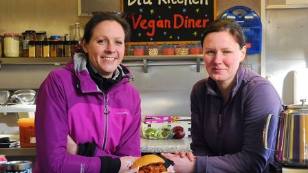 Cheryl Mullenger, left, and Michelle McCabe, co-owners of the Bia Vegan Diner, pictured on the stall