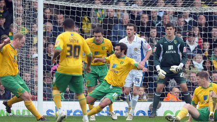 Norwich players scramble the ball clear during the March 2019 victory over Leeds at Carrow Road Pict