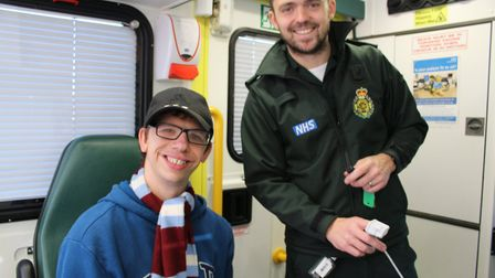 About With Friends member Brandon with EEAST paramedic Chris. Photo: David Russell