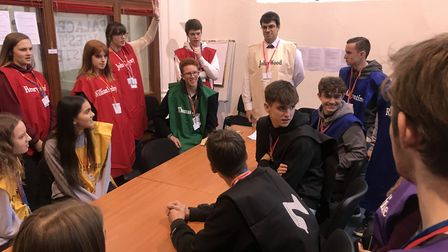 Students from Wymondham High School learn through roleplay at the Game of Roses event in Norwich. Pi