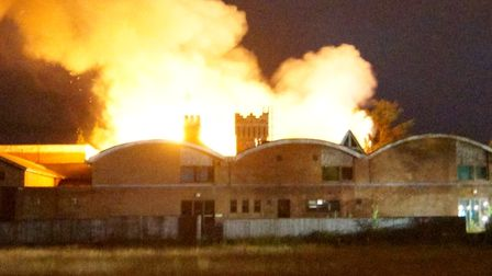 Fire has ripped through the old Pinebanks building in Thorpe St Andrew Norwich during the early hour