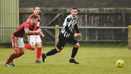 Ryan Crisp scored a hat-trick for Dereham Town against Acle in the Norfolk Senior Cup Picture: ARCHA