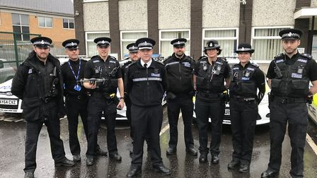 Supt Terry Lordan (front, centre) and the Operation Moonshot team. Picture: Neil Didsbury