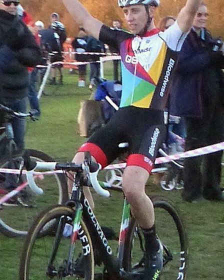 James Madgwick (from Walthamstow) Senior winner at the Hillyfields cyclo-cross Picture: Fergus Muir