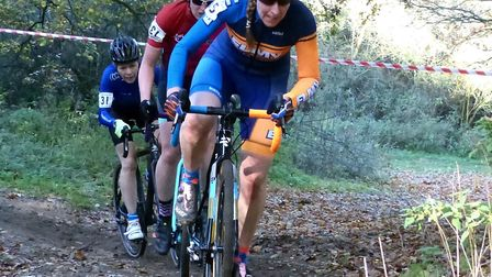 Jo Newstead (XRT/Elmy Cycles) leads Laura Brown (West Suffolk Whs) and Jackie Field (CC Ashwell) at