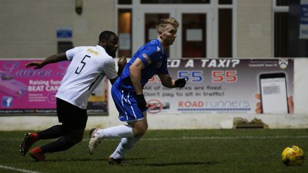 Kieran Higgs starred for Lowestoft Town against Royston Town. Picture: Shirley D Whitlow
