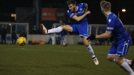 Shaun Bammant in action against Royston Town. Picture: Shirley D Whitlow