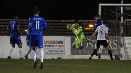 Elvijs Putnins in action for Lowestoft Town against Royston. Picture: Shirley D Whitlow