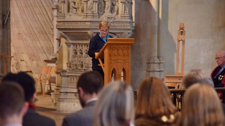 Forget Me Not, a service at Norwich Cathedral for those affected by dementiaAlison Bessey reads I Ta