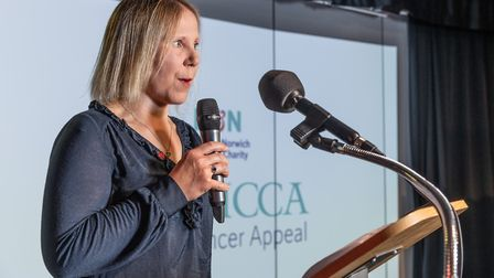 Rebecca Mayhew at the launch of the Boudicca Cancer Appeal at the Forum in Norwich