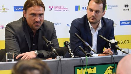 Daniel Farke's (left) initial contract as Norwich City head coach is set to expire this summer - som