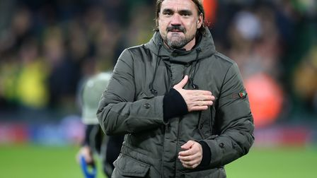 Norwich City head coach Daniel Farke celebrates victory over Millwall with the Canaries supporters i