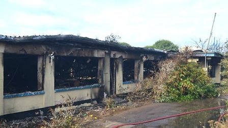 Fire crews were called to a blaze at the former Pontins site in Hemsby last night. Picture: Mick Ho
