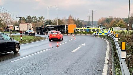 The lorry overturned on the A11 near Thetford. Picture: Norfolk Constabulary